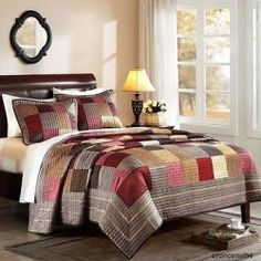Comforter Set Quilt King Bed W/ Shams Brown Gold Red Patchwork Bed in Bag