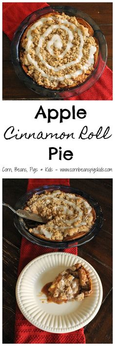 Apple Cinnamon Roll Pie - crunchy on the outside, soft and gooey in the middle just like a cinnamon rolls, this apple pie takes a creative spin by using cinnamon rolls as the crust #AppleWeek