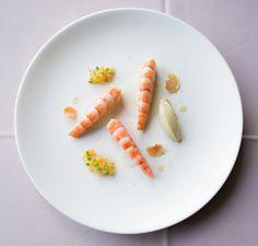 Beurre Blanc Poached King Prawn, Foie Gras Mousse, Pickle Jicama, Xeres Vinaigrette Persimmon, Parsnip Chips, Dried Chilli