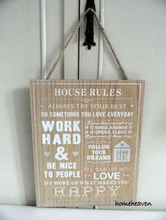 House rules Wall Hanging Plaque Sign wood Shabby chic 30cm Family #homeheaven…