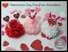 Valentine's Day PomPom Monsters