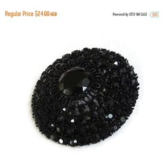 Black Rhinestones Domed Brooch Round Vintage Signed R. Mandle (£17) ❤ liked on Polyvore featuring jewelry and brooches