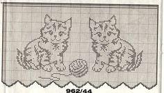 schemat do firanki w kotki Filet Crochet Charts, Crochet Cross, Crochet Home, Cross Stitch Charts, Crochet Motif, Crochet Doilies, Cross Stitch Patterns, Knit Crochet