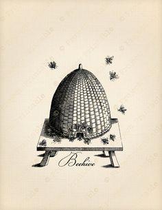 Instant Download Digital Printable Vintage Victorian Bee And Beehive Image Transfer Print