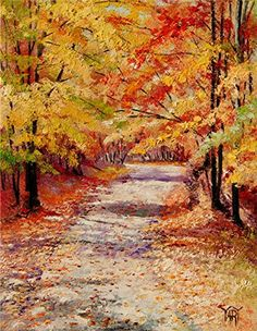 Painting: Path To Heaven - Autumn Leaves Turning Color By Yary Dluhos  Free Gift!