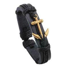 Handmade Retro Leather Woven Charm Anchor Bracelet Men Vintage Braided