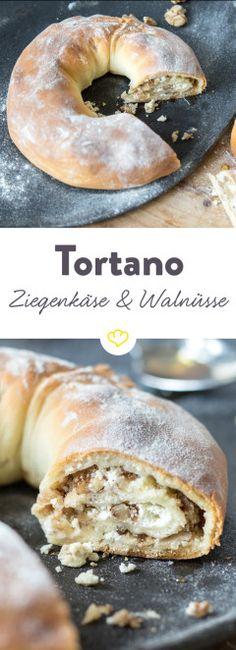 Tortano - ein italienisches Kranzbrot, das mit einer Füllung aus Ziegenkäse, Honig und Walnüssen besonders lecker schmeckt.