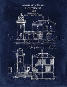 Admiralty Head Lighthouse - 8 x 10 Architectural Blueprint Art Print Lighthouse Lighting, Lighthouse Art, Lighthouse Keeper, Architecture Blueprints, Architecture Drawings, Architecture Details, Architecture Portfolio, Famous Lighthouses, Blueprint Art