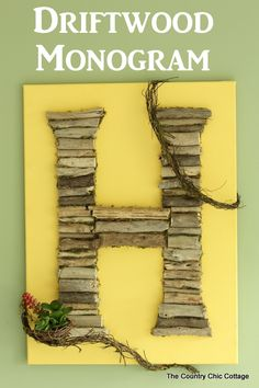 Monogram wall art made from drift wood -- will make a gorgeous addition to any home!