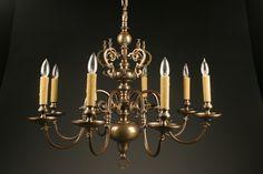 Late 19th century antique Dutch 8 arm bronze chandelier, circa 1880. #antique #chandelier #bronze