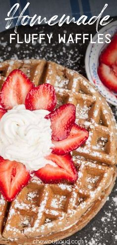 These fluffy waffles are made with wholesome whole wheat and they're perfect with strawberries, blueberries, raspberries, and more berries. #homemadewaffles #fluffywaffles #waffles Healthy Make Ahead Breakfast, Make Ahead Breakfast Casserole, Sweet Breakfast, Breakfast Dishes, Breakfast Ideas, Raspberries, Blueberries, Strawberries, Homemade Waffles