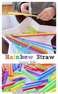 Rainbow Straw Scissor Skills.  Fine motor and cutting practice for preschool and pre-k.