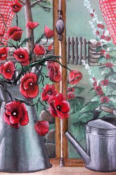 """""""fenêtre et coquelicots"""", huile sur fond d'armoire"""