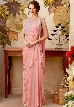 Latest Designer Women's Party Wear Peach Color Border Lycra Saree with Emb. Blouse Latest Designer Women's Party Wear Peach Color Border Lycra Saree with Emb. Indian Party Wear, Indian Wedding Outfits, Indian Designer Outfits, Designer Dresses, Designer Wear, Saree Designs Party Wear, Saree Gown, Lehnga Dress, Lehenga Saree