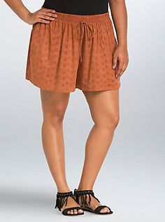 Faux Suede Perforated Shorts, RUST