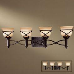 Minka Lavery 5974-1-138 4 Light Bathroom Light, Aspen Bronze by Minka. $239.90. Finish:Aspen Bronze, Glass:Rustic Scavo, Light Bulb:(4)100w A19 Med F Incand  Aspen II 4 Light Bath Fixture.   Decorative element is removable.. Save 33% Off!