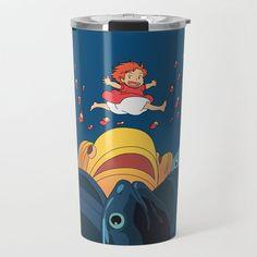 Ponyo Travel Coffee Mug by Laura Frere - 20 oz Travel Mugs, Coffee Travel, Us Travel, Coffee Cubes, Movie Film, Miyazaki, Ghibli, Wraparound, Insulation