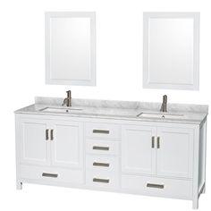 Meuble-lavabo double surélevé - Vanité 49-60 pouces - Meubles ...