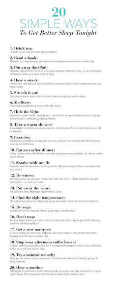 Healthy living - 20 simple ways to get better sleep tonight