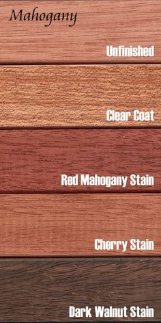 Mahogany is a heavy and very stable hardwood with coloring that varies from almost white to a deep brown. The grain is usually straight and slightly lustrous, and the wood is naturally decay and moisture resistant. Mahogany also takes stain and finish wel Mahogany Wood Stain, Mahogany Flooring, Dark Walnut Stain, Wood Stain Colors, Dark Wood Floors, Wood Flooring, Wood Interiors, Wood Laminate, Wood Species