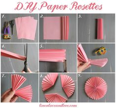 We love these paper rosettes! Covering an entire wall in different sizes and shades of pink would make a lovely backdrop...