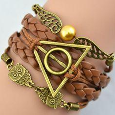 Multilayer Bangle Antique Bronze harry potter magic hallows bracelet, harry potter bracelet, owl wing Personalized bracelet