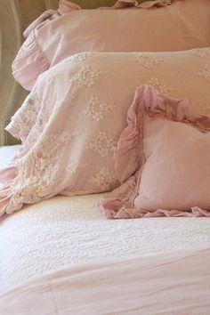 ....blush pink shabby bedding....
