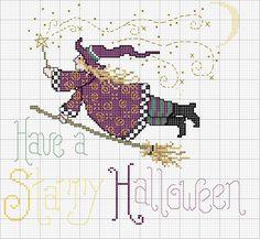 Have a Starry Halloween Pagan Cross Stitch, Fall Cross Stitch, Cross Stitch Needles, Cross Stitch Flowers, Cross Stitch Charts, Cross Stitch Patterns, Halloween Embroidery, Halloween Cross Stitches, Cross Stitching
