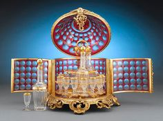 Baccarat Ruby Glass Cavé Liqueur set