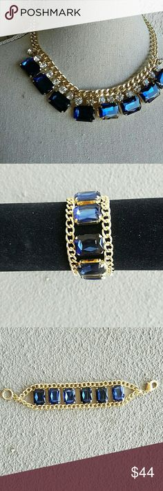 Sapphire & Glass Crystals Statement Necklace.set Sapphire & Glass Crystals Statement Necklace Brand new. Never worn. Gorgeous Gold plating. This can be bought separately. See other pictures. Jewelry Necklaces