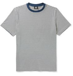 'Mr James Dean smouldered in one, Mr Andy Warhol screen printed in one, and Mr Jean Paul Gaultier continues to sew his haute couture creations in one,' says <i>The Journal</i> of the humble stripey tee - a classic that still feels contemporary. This <a href='http://www.mrporter.com/mens/Designers/PS_By_Paul_Smith'>PS by Paul Smith</a> version is cut from navy and cream cotton-jersey in a slim but non- restrictive ...