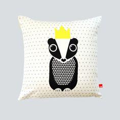 HJEM Badger King Organic hand-printed Cushion shop @ myhjem.com #Badger #organic #homewares #contemporarycraft #britishmade #hjem