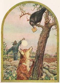 Crow was perched upon a limb, And Reynard the Fox looked up at him; For the Crow held in his great big beak A morsel the Fox would go far to seek. Aesop's Fables Stories, Fables D'esope, Fables For Kids, American Crow, Crow Art, Crows Ravens, Chef D Oeuvre, Conte, Illustrations
