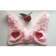 #embroidery #heart #bralette #pink #vintage #ruffle  https://www.etsy.com/uk/listing/513269709/embroidered-heart-bralette