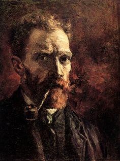 Self-Portrait with Pipe Van Gogh Oil 1886