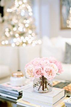 Pink Roses, simple arrangement for coffee table