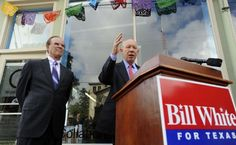 Democratic gubernatorial nominee Bill White (right) met privately with local leaders including County Judge Nelson Wolff at a campaign stop in the King WIlliam neighborhood. At a news conference afterward, White took aim at Gov. Rick Perry. / SA