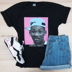 t-shirt fresh prince Fresh Prince, Girl Fashion, Fashion Outfits, Tumblr Outfits, Cute Casual Outfits, Aesthetic Clothes, Street Wear, Stylish, My Style