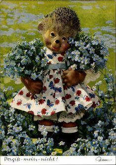 Vergiss mein nicht, Igeldame mit Blumen