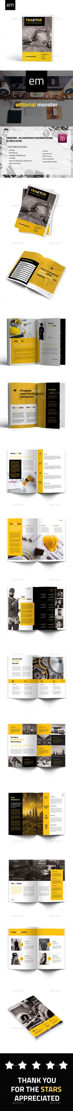 Traktor  A4 Construction Brochure — InDesign INDD #company #abstract • Available here → https://graphicriver.net/item/traktor-a4-construction-brochure/20427679?ref=pxcr