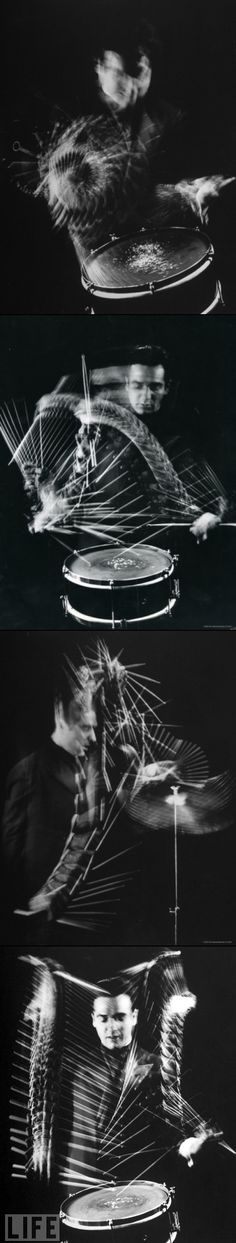 Drummer Gene Krupa by Gjon Mili| I will find out how to do this! Long exposure maybe?
