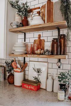 Open shelving and white subway tiles open shelf kitchen, kitchen decor, kit Kitchen Shelves, Diy Kitchen, Kitchen Decor, Kitchen Ideas, Kitchen Updates, Kitchen Cabinetry, Boho Kitchen, Country Kitchen, Kitchen Styling