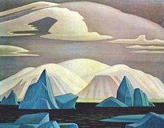 'Icebergs and Mountains, Greenland' by Group of Seven Canadian painter Lawren S. Harris via Bert Christensen Group Of Seven Art, Group Of Seven Paintings, Emily Carr, Canadian Painters, Canadian Artists, Landscape Art, Landscape Paintings, Landscapes, Abstract Paintings
