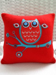 Recycled Red and Turquoise Cashmere Owl Pillow