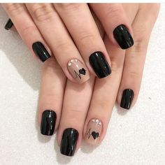 60 cool black nail designs to try out .- 60 coole schwarze Nageldesigns zum Ausprobieren 60 cool black nail designs to try out # Nail designs the - Cute Nail Art Designs, Black Nail Designs, Nail Designs With Hearts, Heart Nail Designs, Valentine's Day Nail Designs, Red Nail Art, Red Nails, Black Nails, Color Nails