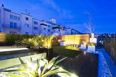 Roof terrace at night - who wouldn't love drinks with friends here? London Architecture, Night Time, Garden Landscaping, Bespoke, Terrace, Mansions, Drinks, House Styles, Building