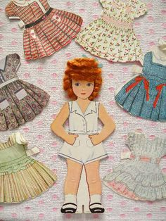 Vintage CURLY TOP Paper Doll With Real Hair and Clothes