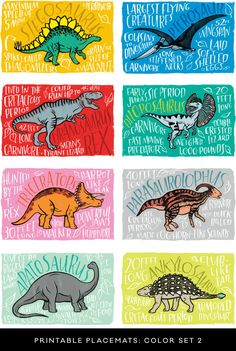 Fun Fact Placemats: Dinosaurs Cute for under food and treats! Dinosaur Food, Dinosaur Activities, The Good Dinosaur, Dinosaur Art, Dinosaur Types, Party Activities, Dinosaur Crafts Kids, Dinosaur Projects, Dinosaur Printables