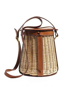 Wicker Purses - HERMES wicker-and-leather bag