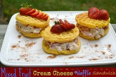 Delicious!! Need a great Breakfast on the Go! Try my Mixed Fruit Cream Cheese Waffle Sandwich!   #4MoreWaffles #collectivebias #shop